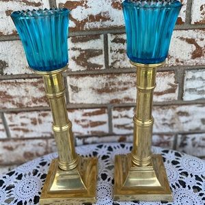 Vintage Brass Candlesticks w/ turquoise votives